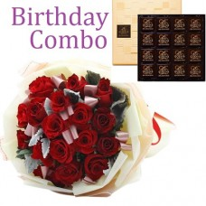 Birthday Package - Rose Bouquet + Godiva 85c Dark Chocolate